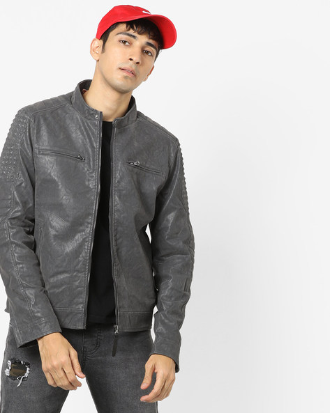 Front-Zipper Jacket With Quilted Panel By ED HARDY ( Gray )