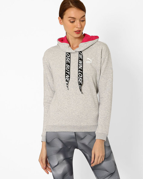 Hooded Sweatshirt With Ribbed Hems By Puma ( Grey )