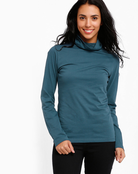 Turtle Neck Top By Style Quotient By Noi ( Blue )