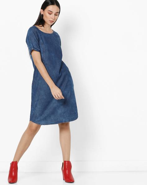 Lightly Washed Cut & Sew Shift Dress By Project Eve WW Denim ( Darkblue )