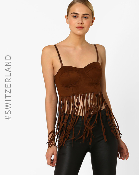 Bralette Suede Top With Fringes By TALLY WEiJL ( Tan )