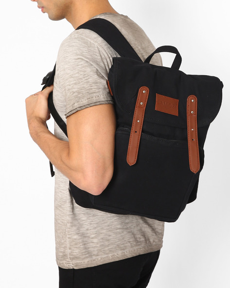 Backpack With Flap Closure By FAMOZI ( Black )