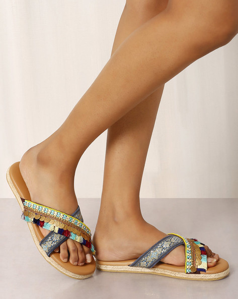 Open-Toe Beaded Chappals By Indie Picks ( Brown )