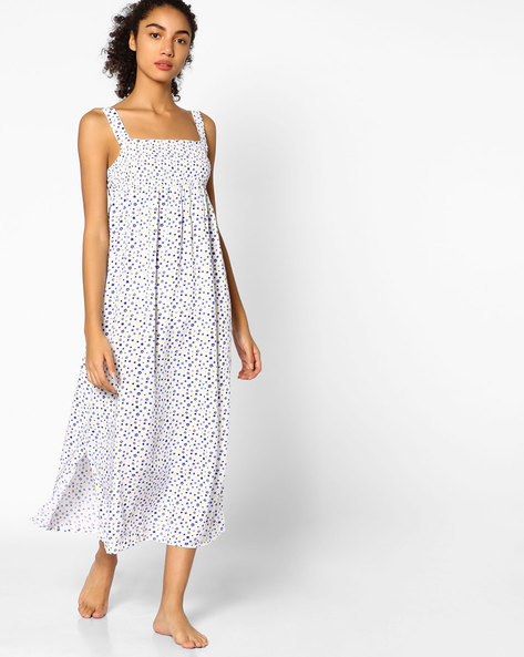 Printed Strappy Night Dress With Pleats By Mystere Paris ( Multicolor )