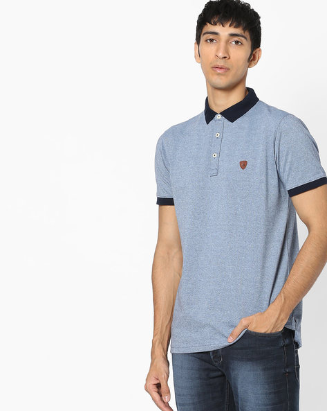 Polo T-shirt With Contrast Collar By NETPLAY ( Blue )