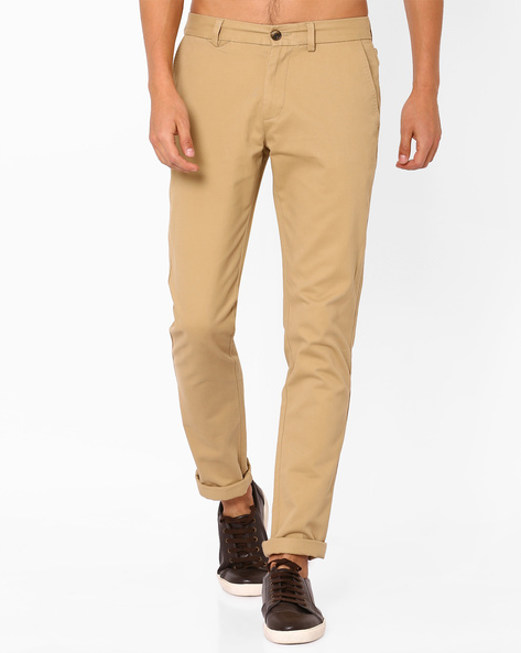 Flat-Front Cotton Chinos By NETPLAY ( Beige )