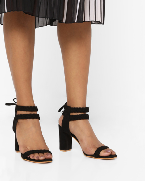 Block Heels With Braided Design By MFT Couture ( Black )