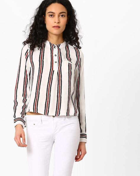 Striped High-Low Top By FIG ( White )