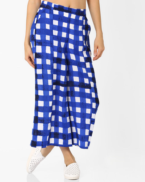 Checked Soft Moss Palazzo Pants By AJIO ( Blue )