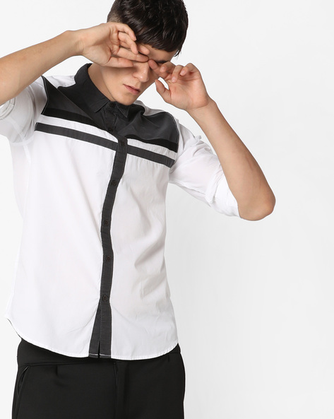 Slim Fit Shirt With Cut & Sew Panels By AJIO ( White )