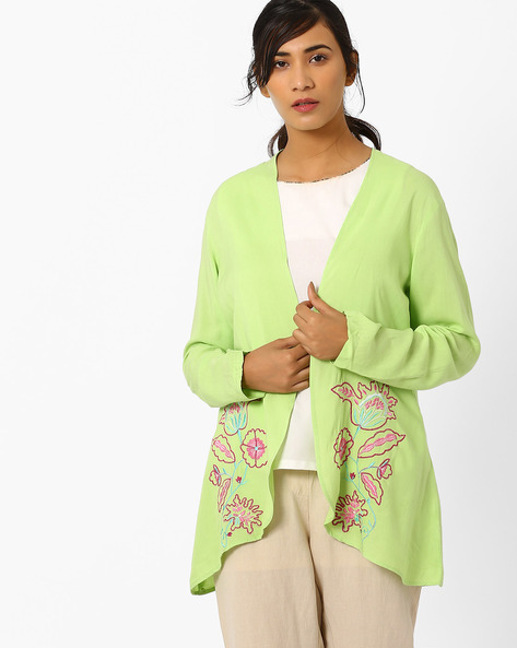 Embroidered Jacket With Asymmetric Hem By AJIO ( Limegreen )