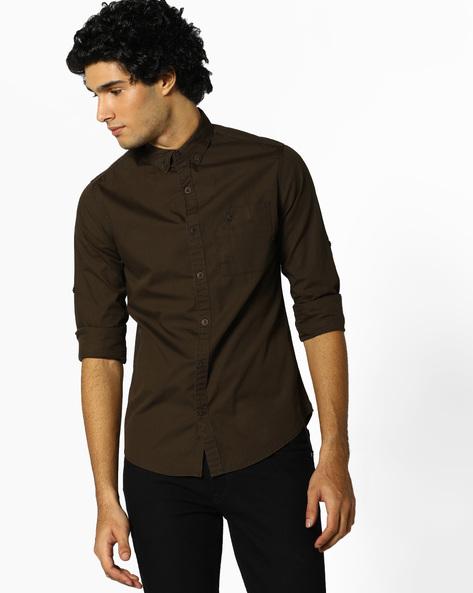 Slim Fit Utility Shirt By AJIO ( Olive )
