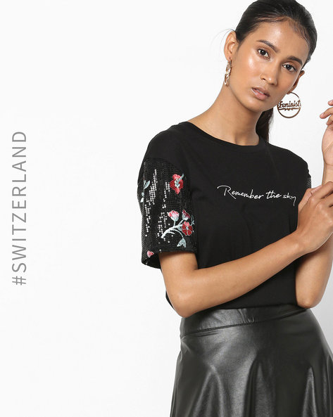 Printed T-shirt With Shimmery Sleeves By TALLY WEiJL ( Multi )