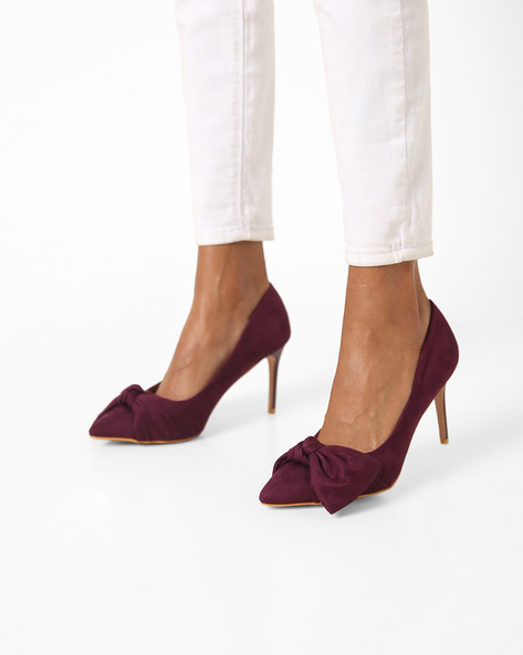Pointed-Toe Pumps With Bow By AJIO ( Purple )
