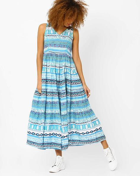Printed Maxi Dress By AJIO ( Blue )