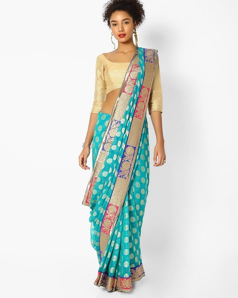 Printed Saree With Embroidered Border By Majestic Silk ( Green )