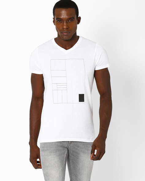 Eastwood Compact Cotton V-neck Slim T-shirt By SON OF A NOBLE ( White )