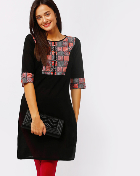 Straight Kurta With Contrast Accents By AURELIA ( Black )