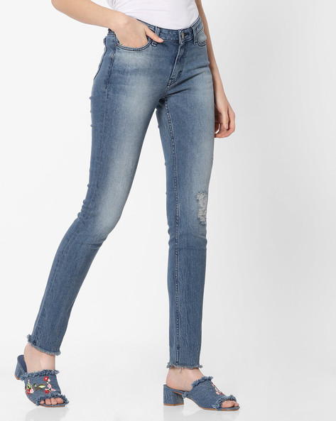 Light-Wash Distressed Skinny Jeans By Lee ( Blue )