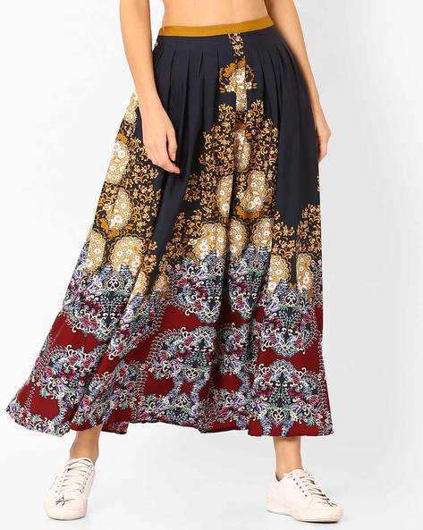 Floral Print Pleated Midi Skirt By Vajor ( Multi )