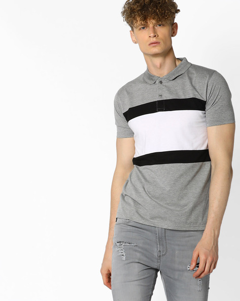 Polo T-shirt With Striped Panel By BLOTCH ( Multi )