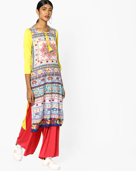 Printed Kurta With Tasseled Tie-Up By Melange By Lifestyle ( Yellow )