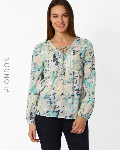 Geometric Print Top By Marks & Spencer ( Offwhite )