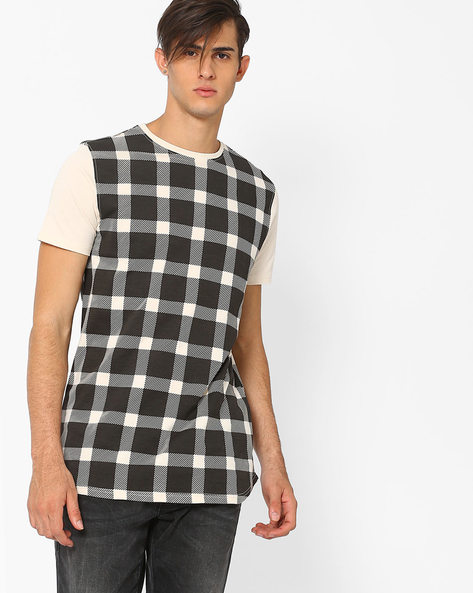 Checked Cotton T-shirt By AJIO ( Grey )