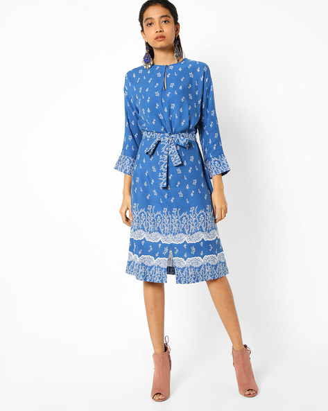 Floral Printed Dress With Waist Tie-Up By AJIO ( Blue )