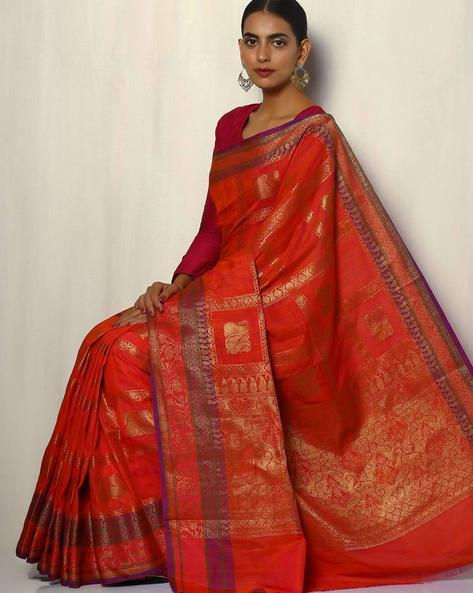 Antique Zari Banarasi Dupion South Silk Saree By Pretty Woman ( Peach )