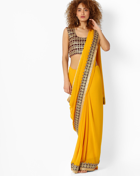Saree With Contrast Panel By Majestic Silk ( Yellow )