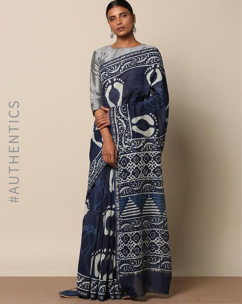 Handblock Indigo Print  Chanderi Saree With Zari By Indie Picks ( Indigo ) - 460146806001