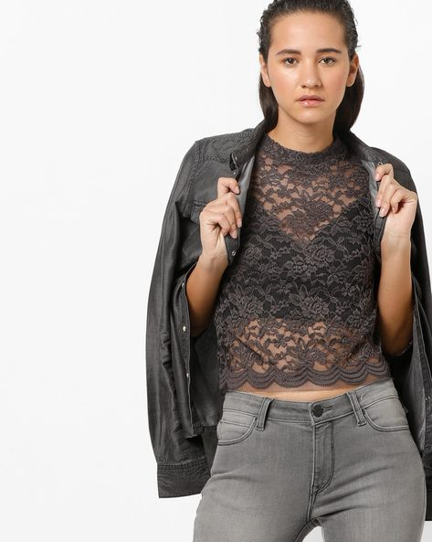 Floral Lace Top By Ginger By Lifestyle ( Charcoal )