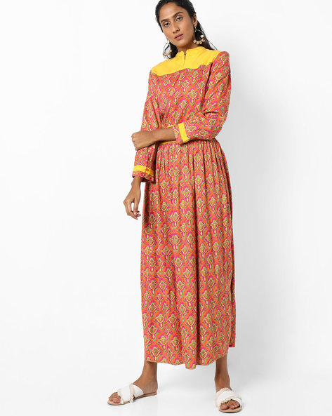 Printed Kurta With Contrast Yoke By Jiyaa ( Fuchsia )