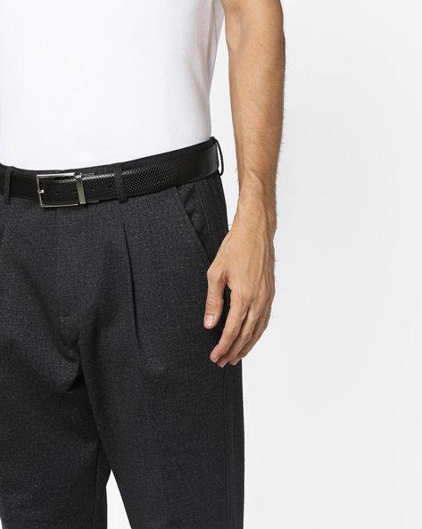 Textured Genuine Leather Belt By ALVARO CASTAGNINO ( Black ) - 460135800001