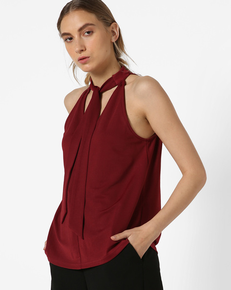 Sleeveless Top With Tie-Up Neckline By UNITED COLORS OF BENETTON ( Burgundy )