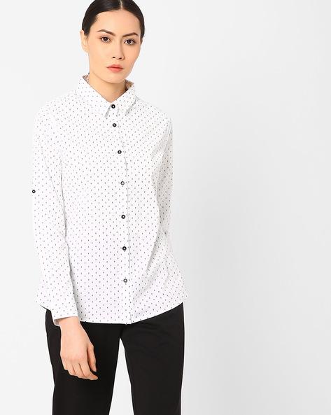 Ditsy Print Slim Fit Shirt By AJIO ( White )