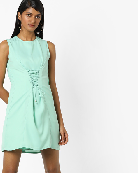 Princess-Seam Shift Dress With Tie-Up Design By AJIO ( Lightgreen )
