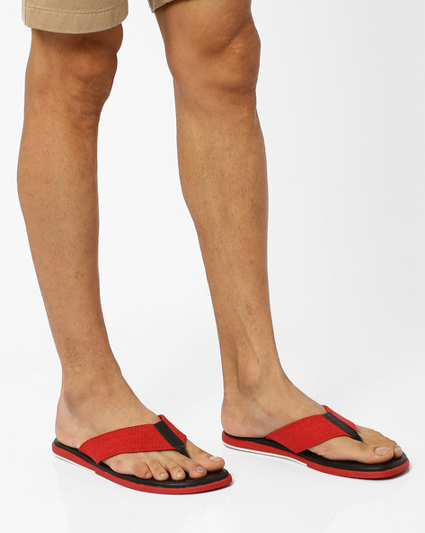 Leather Flip-Flops By Estd.1977 ( Red )