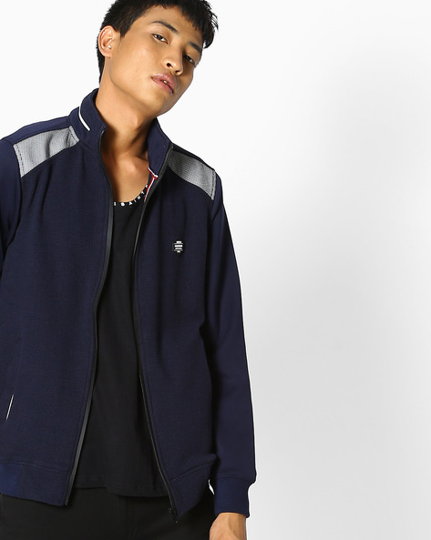 Front-Zip Sweatshirt With Pockets By Fort Collins ( Navy )