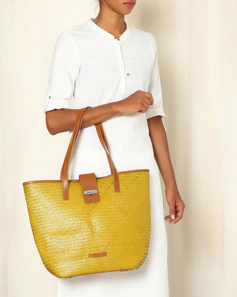 Handcrafted Natural Fibre Tote Bag By Indie Picks ( Yellow )
