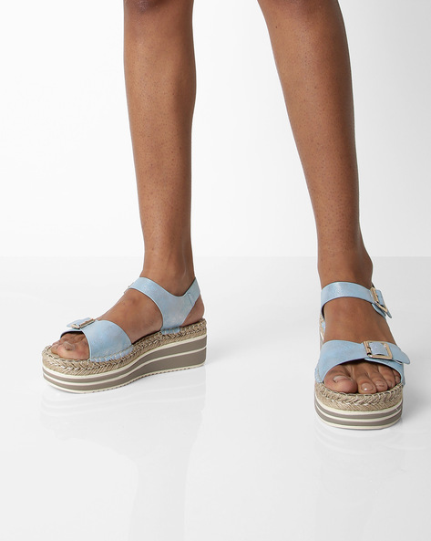 Textured Strappy Wedge-Heeled Sandals By AJIO ( Blue )