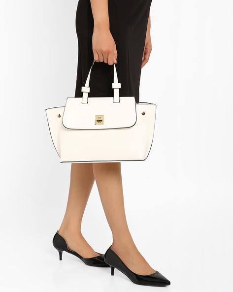 Handbag With Flap Closure By Lavie ( White )