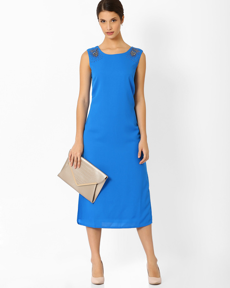 Sleeveless Midi Dress By AJIO ( Blue )