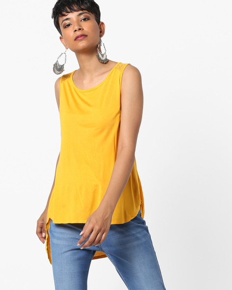 High-Low Top With Mesh Panel By Biba ( Yellow )