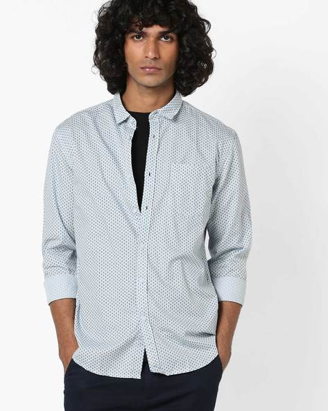 Printed Slim Fit Shirt With Patch Pocket By FLYING MACHINE ( Blue )