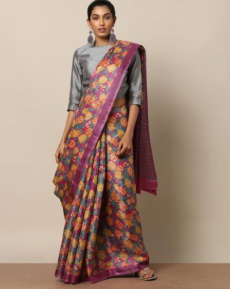 Floral Print Saree By Rudrakaashe-MSU ( Pink )
