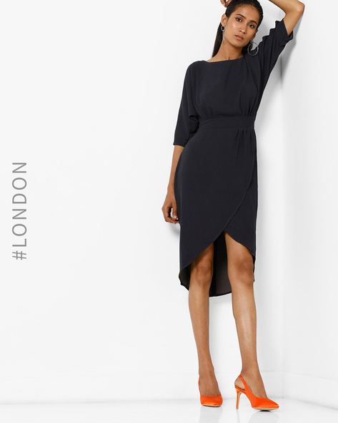 Wrap Dress With Tie-Up By Closet London ( Navyblue )