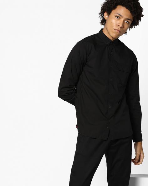 Classic Shirt With Flap Pocket By AJIO ( Black )