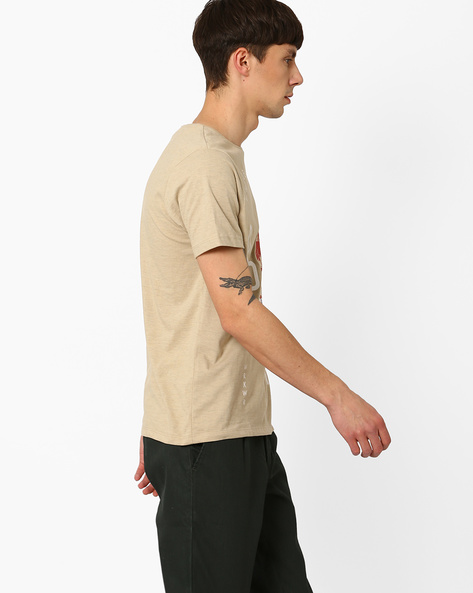 Graphic Print Slim Fit T-shirt By AJIO ( Beige )
